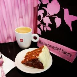 Illy coffee and carrot cake at the Hummingbird Bakery in Spitalfields