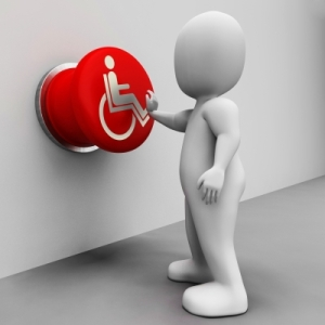 Wheelchair Button Shows Physical Disability And Immobility