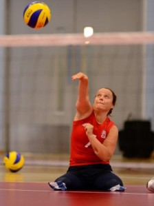 Martine Wright playing sitting volleyball at the 2012 Paralympics