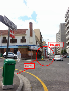 Inaccessible MyCiti bus stop in Cape Town